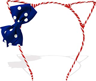 Cute Red White and Blue Cat Ears Headband with Bow 4th of July Memorial Day Accessory