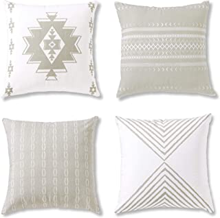 Boho Throw Pillow Covers or Decorative Cushion Covers for Couch, Sofa, Bedroom Bohemian Set of 4 18X18 Modern Geometric Pillow Case for Home Decor or Farmhouse, 100% Cotton, Reef Set, Grey
