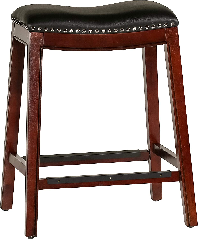 "DTY Indoor Living Frisco Bonded Leather Saddle Stool, Espresso Finish, 24"" Counter Stool - Big Sale"