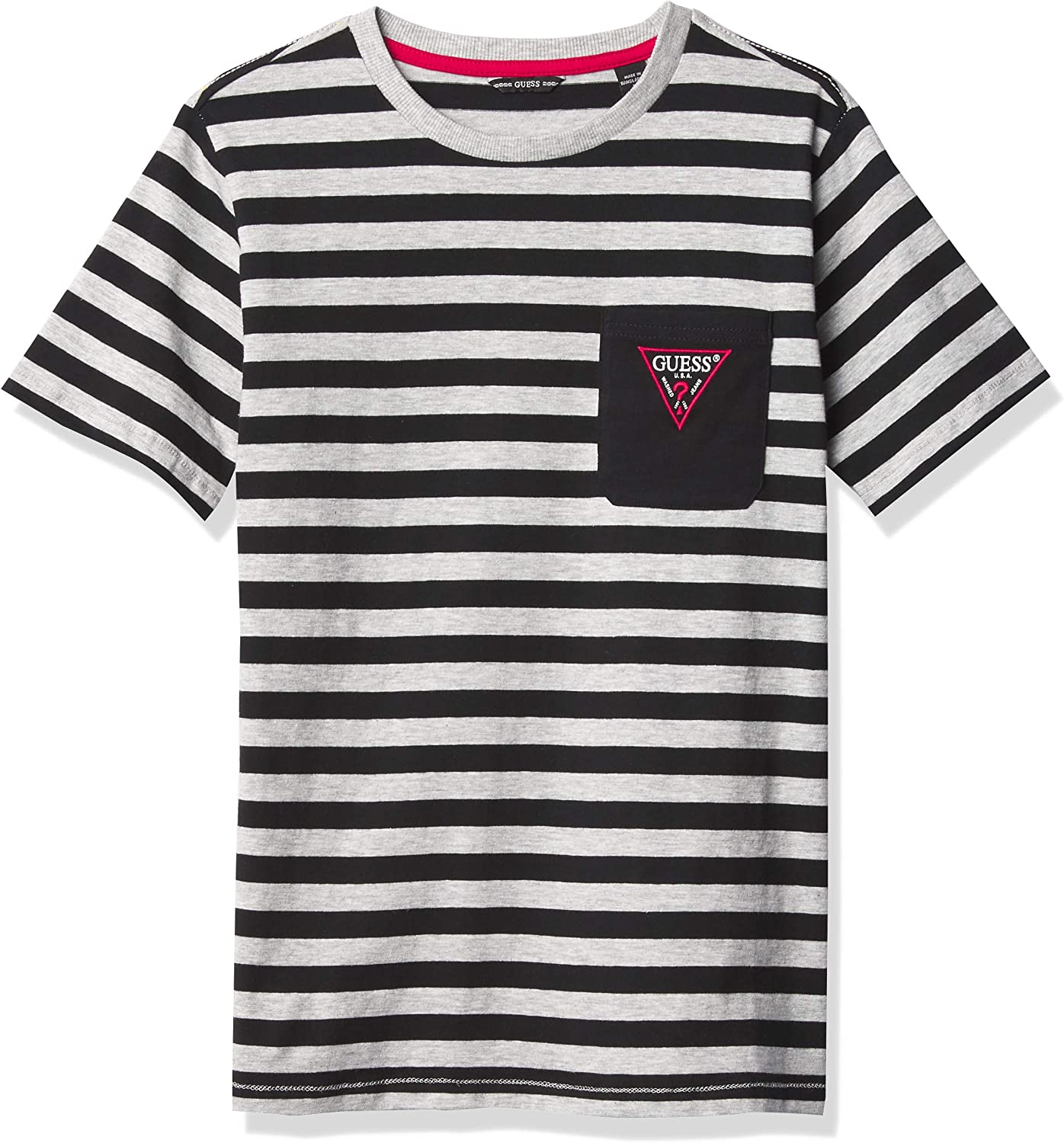 GUESS Boys' Short Sleeve Pocket T-Shirt with Stripes