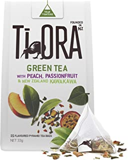 Ti Ora Green Tea - with Peach, Passionfruit & New Zealand Kawakawa - 4 Packs of 15 Pyramid Tea Bags (60 Serves)