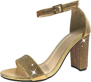 Harper Shoes Women's Open Toe Crystal Rhinestone Ankle Strap Chunky High Heel Dress Sandal