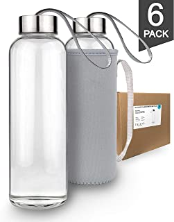 Teikis (6-Pack) Glass Water Bottles 18oz with Stainless Steel Cap and (6 Nylon Protection Sleeve INCLUDED)