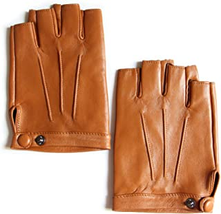 Men's Fingerless Lambskin Leather Gloves Unlined