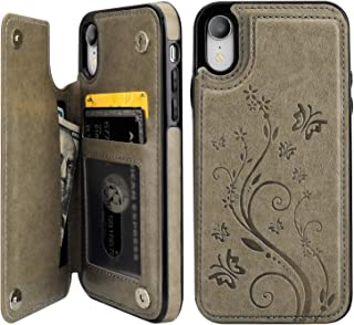 Vaburs iPhone Xr Case Wallet with Card Holder, Embossed Butterfly Premium PU Leather Double Magnetic Buttons Flip Shockproof Protective Case Cover for iPhone Xr (6.1