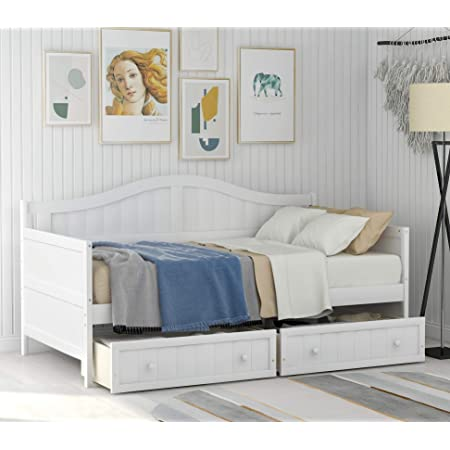 Harper & Bright Designs Wood Daybed with Storage Drawers, Twin Daybed Sofa Bed Frame for Bedroom, Guest Room, Living Room