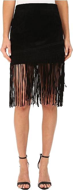 Black Suede Fringe Skirt in Seal The Deal