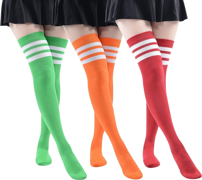 MK MEIKAN Over the Knee High Extra Women Girls Long Manufacturer regenerated product Nippon regular agency Socks Strip