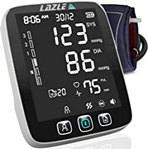 Blood Pressure Monitor by LAZLE: Automatic Upper Arm Machine & Digital BP Cuff Kit - Largest Display - 200 Sets Memory, Includes Batteries, Carrying Case