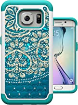 S7 Edge Case, MagicSky [Shock Absorption] Studded Rhinestone Bling Hybrid Dual Layer Armor Defender Protective Case Cover for Samsung Galaxy S7 Edge (Flower)