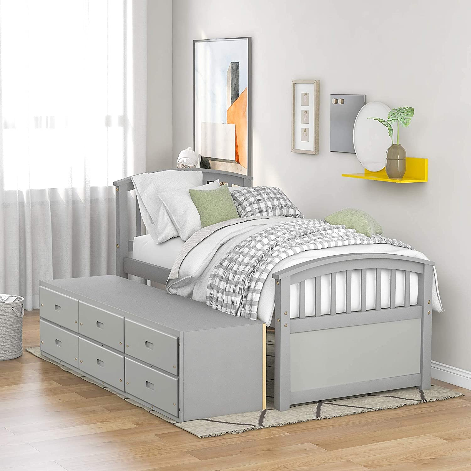 BRLUCKY Safety and trust Support Twin Bed Frame Don't miss the campaign with Wood C Drawers Storage Solid