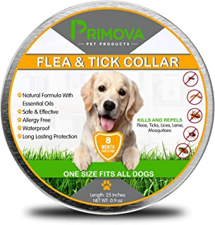 Primova - Flea and Tick Collar for Dogs - Enhanced with Natural Essential Oils - 8 Months Protection - Safe & Allergy Free - Adjustable & Waterproof - Repels Fleas Ticks Mosquitos - One Size Fits All