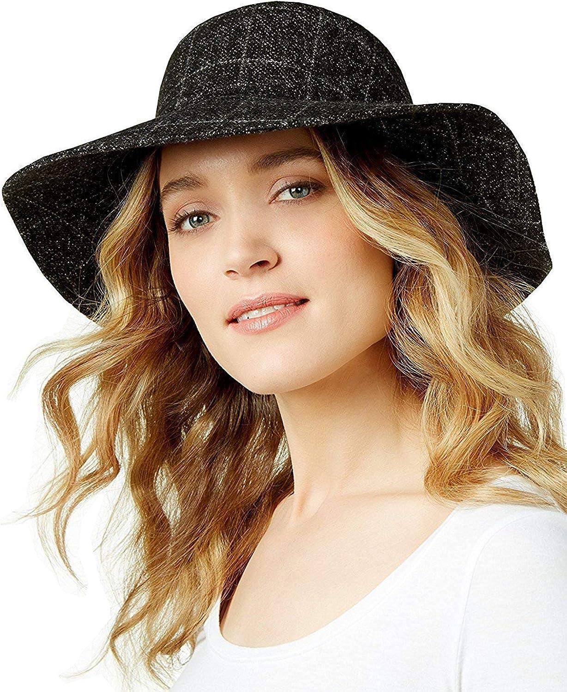 Nine West Women's Floppy Fabric Hat,Black,One Size