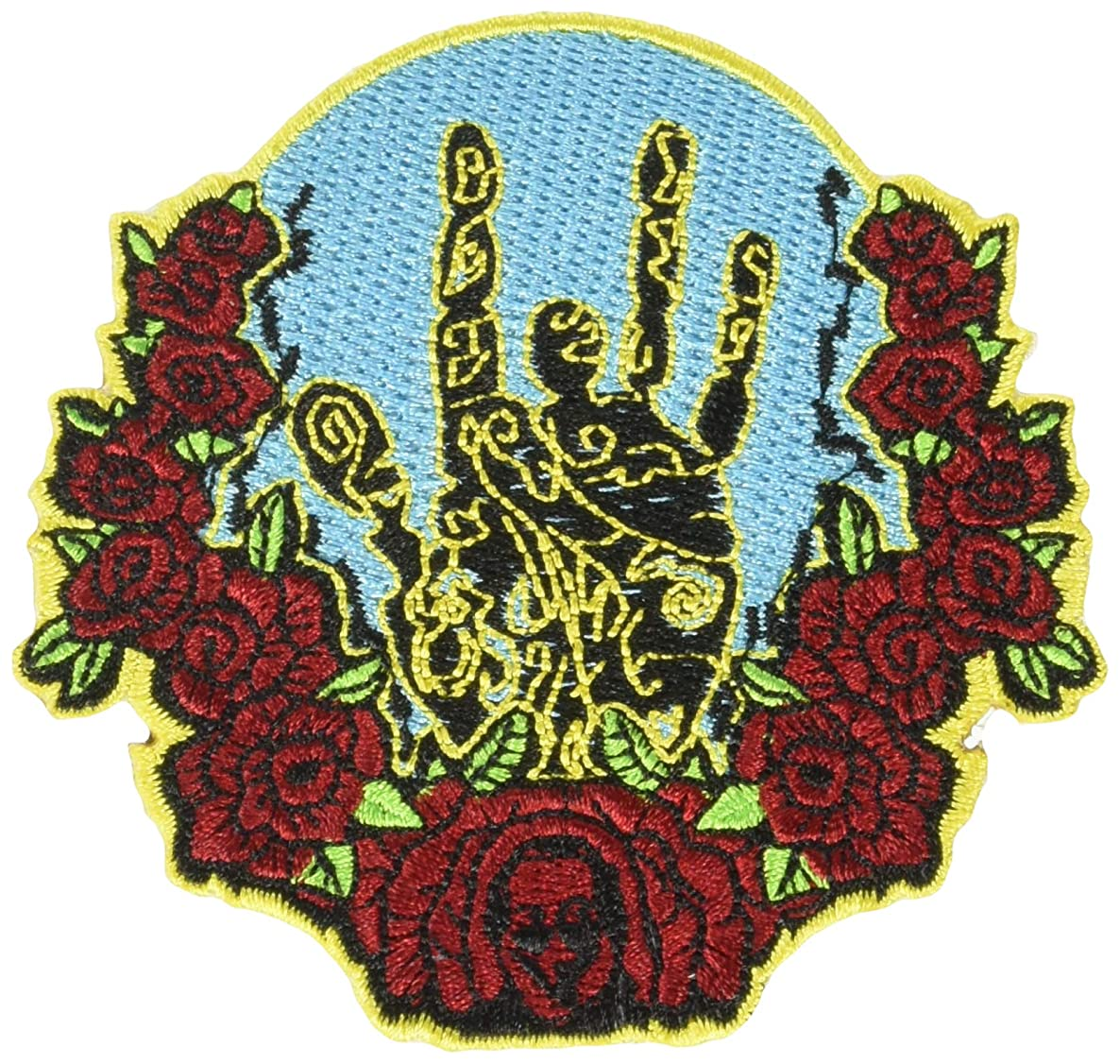 C&D Visionary Jerry Garcia Hand and Roses Patch Iron-On Patches (P-4548)