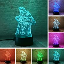 Fanrui Figurines Toy Story Woody Buzz Lightyear Friends Model 3D Illusion LED Night Light 7 Colors Change Smart Touch Control Lighting Glow in The Dark Figure Toys Child Kids Xmas Thanksgiving Gifts