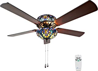 River of Goods 16160S Tiffany Style Stained Glass Halston Ceiling Fan, Blue