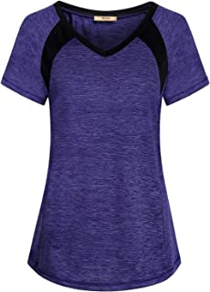 Miusey Womens Short Sleeve Running Shirts Loose Fit Sport Activewear Workout Tops