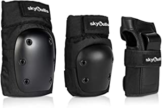 skybulls Adult Child Knee Pads Elbow Pads with Adjustable Wrist Guards, [3 in 1] Protective Gear Set Skateboard Pads Knee and Elbow Pads for Skating Rollerblading Inline-Skating Biking Scooter