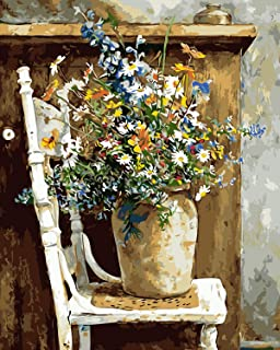 "COLORWORK DIY Paint by Numbers, Canvas Oil Painting Kit for Kids & Adults, 16"" W x 20"" L Drawing Paintwork with Paintbrushes, Acrylic Pigment-Wild Flowers Pots Chair"