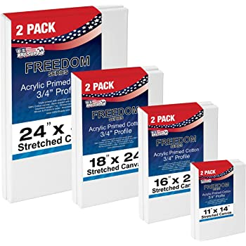 US Art Supply Professional Quality Large 12oz Primed Gesso Stretched Canvas Multi-Pack - (This Kit is for 8 Assorted Large Sized Canvases) 2 Each of 11x14, 16x20, 18x24, 24x36 …
