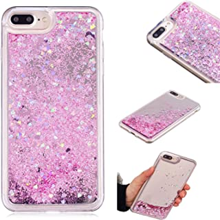 iPhone 8 Plus Case, iPhone 7 Plus Case, KMISS Mirror Luxury Glitter Liquid Floating Bling Sparkle Fashion Creative Design Mirror Bumper Protective Cover Apple iPhone 7 Plus/8 Plus (Pink)
