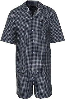 Mens Cotton Check Short Sleeve Top and Shorts Pyjama Set Cotton Rich Checkered Crew Neck Tshirt Boys Plain Comfy Shorts Su...