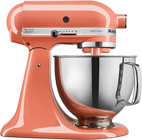 high quality KitchenAid KSM150PSPH lowest outlet sale Artisan Tilt-Head Stand Mixer with Pouring Shield, 5-Quart, Bird of Paradise (Renewed) outlet online sale