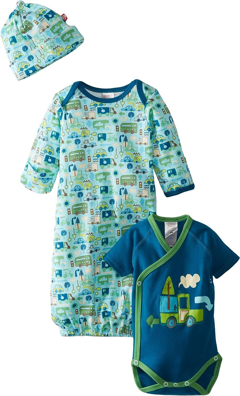Zutano Baby-Boys Newborn Road Trip Gown Short Sleeve Wrap and Hat Set