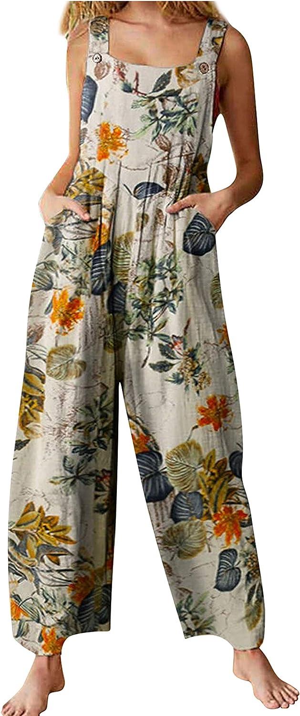 Yeokou Large-scale sale Women's gift Floral Print Cotton B Pants Linen Suspender Harem