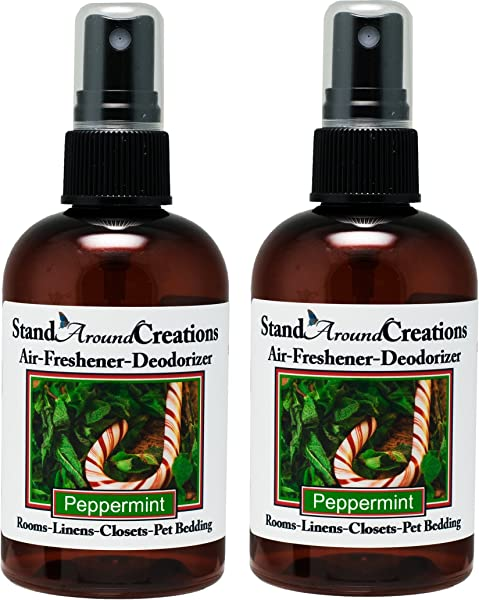 Set Of 2 4 Oz Concentrated Spray Air Freshener Deodorizer Peppermint Great For Cars Offices Closets Air Conditioners Pet Beds Yoga Mats Litter Boxes Laundry Rooms Smoke Odors