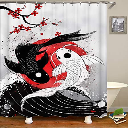 Amazon Com Sara Nell Koi Fish Yin Yang Shower Curtain Waterproof Polyester Fabric Extra Long Bath Curtains Bathroom Decorations 72x72 Inches With 12 Hooks Home Kitchen