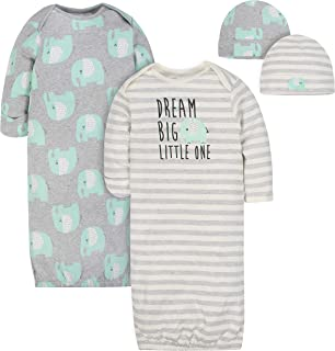 Baby Boys' 4-Piece Organic Gown and Cap Set