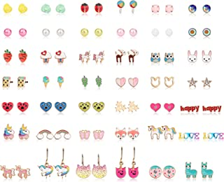 Hanpabum 42 Pairs Stainless Steel Earrings for Girls Women Flower CZ Animals Heart Ice Cream Colorful Cute Stud Earrings set