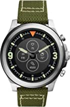 Fossil Men's Latitude Hybrid Smartwatch HR with Always-On Readout Display, Heart Rate, Activity Tracking, Smartphone Notifications, Message Previews, Silver/Olive,