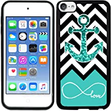 TeleSkins Rubber TPU Case for iPod Touch 5 / iPod Touch 6 / iPod Touch 7 - Infinite Love Teal Glitter Anchor - Ultra Durable Slim Fit, Protective Plastic with Soft Rubber TPU Snap on Back Case/Cover