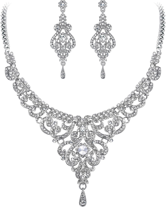 EVER FAITH Women's Austrian Crystal Art Deco Bridal Vase Flower Necklace Earrings Set