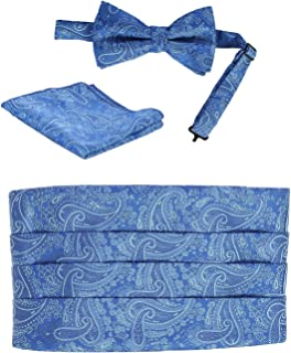 Gioberti Men's Satin Formal Bow Tie, Pocket Square, and Cummerbund Set