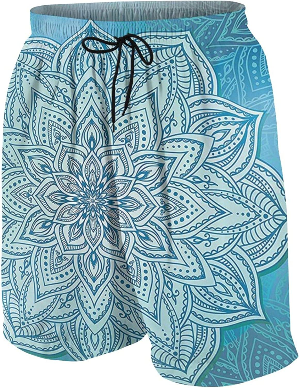 Mandala Oriental Indian Lace Lotus Zen Big Boys' Quick Dry Swim Trunks Beach Board Shorts Mesh Lining with Side Pockets