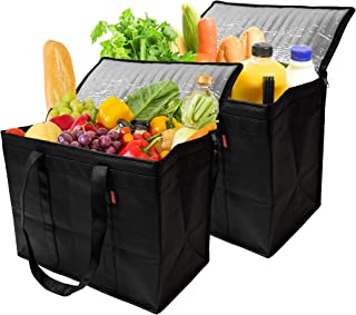 Insulated Reusable Grocery Bags, Sturdy Zipper, Foldable, Easy to Clean, Heavy Duty, Stand Upright, Completely Reinforced Bottom & Handles (2 Pack, Black)