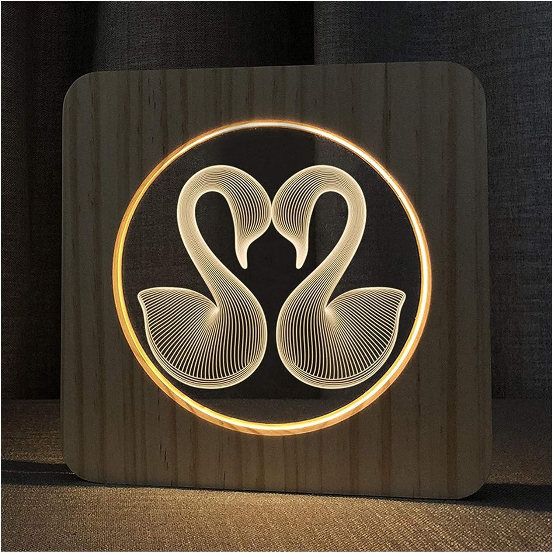 PULLEY Swan Desktop Lamp Animal Night Max Many popular brands 86% OFF At Nightlight 3D LED Light