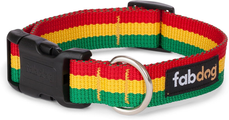 Fab Dog Rasta Stripe Nylon 5 8Inch Dog Collar, Small, Red Yellow Green