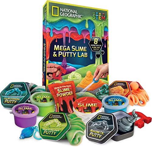 NATIONAL GEOGRAPHIC Mega Slime Kit & Putty Lab - 4 Types of Amazing Slime for Girls and Boys plus 4 Types of Putty in...
