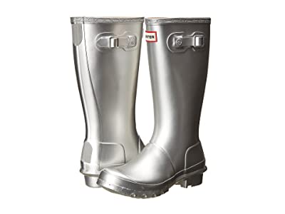 Hunter Kids Original Metallic Rain Boot (Little Kid/Big Kid) (Silver) Girls Shoes