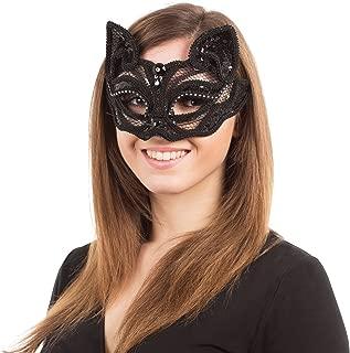 Black Cat Sequin half mask (G/F)