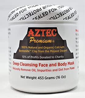 Aztec Premium Deep Cleansing Face & Body Mask Powder | 100% Natural & Organic Calcium Bentonite Clay (also known as Montmorillonite Clay) | 16 oz