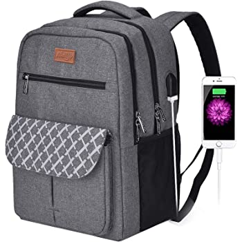 Arrontop Travel Laptop Backpack,School College Backpack Anti Theft Computer Backpack with USB Charging Port Water Resistant Business Casual Daypack for Men Women Fits 15.6 Inch Notebook, Grey