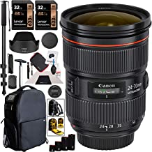 $1599 » Canon EF 24-70mm f/2.8L II USM Lens 5175B002 Professional Zoom for EF Mount DSLR Cameras Bundle with Deco Gear 3-in-1 Camera Case, Backpack, Carry On Bag + Monopod + Lens Sleeve Kit and Accessories
