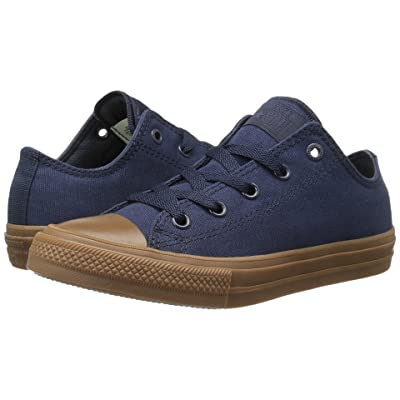Converse Kids Chuck Taylor All Star II Ox (Little Kid) (Obsidian/Obsidian/Gum) Boys Shoes