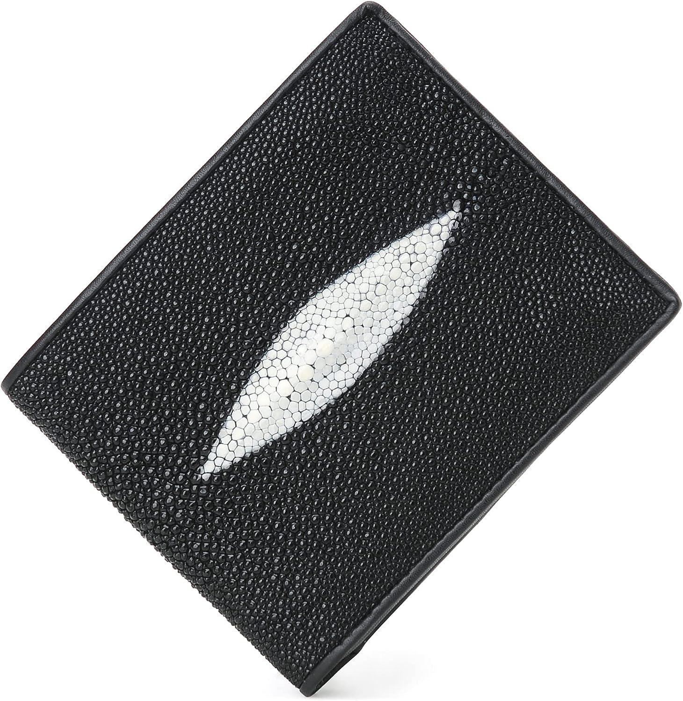 Luxury Genuine Stingray Skin Leather Wallet for Men and Women, Slim Card Holder Wallet