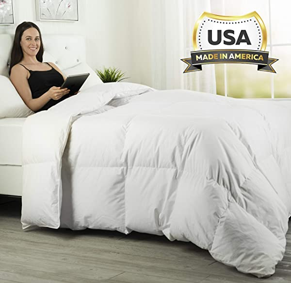 ComfyDown Luxurious White Comforter Hypoallergenic Washable European Goose Down 800 Fill Power W Soft Plush Egyptian Cotton 600 Thread Count Cover Made In The USA Queen